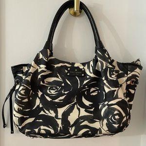 Kate Spade Black White Roses Nylon Tote Bag RARE